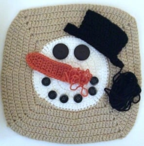 """Norman Buttons the Snowman Pillow, free crochet pattern in Red Heart Super Saver by Underground Crafter with Fairfield Crafter's Choice 12"""" Pillow Form"""