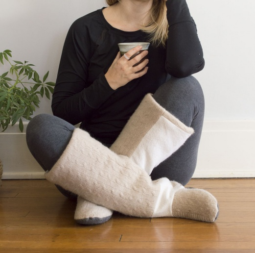 Upcycled Sweater Boot Slippers