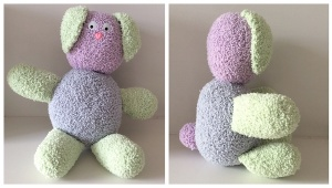 Bouncy Boucle Crochet Bunny, free pattern by Underground Crafter for Fairfield World | finished bunny front and side view