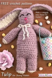 Tulip the Bunny Rabbit, free crochet pattern by Stitches n Scraps, stuffed with Fairfield Poly-Fil