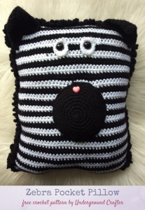Zebra Pocket Pillow, free crochet pattern by Underground Crafter, stuffed with Fairfield Poly-Fil