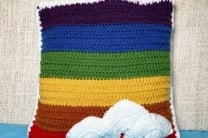 Crochet Rainbow Pillow with Cumulus Clouds