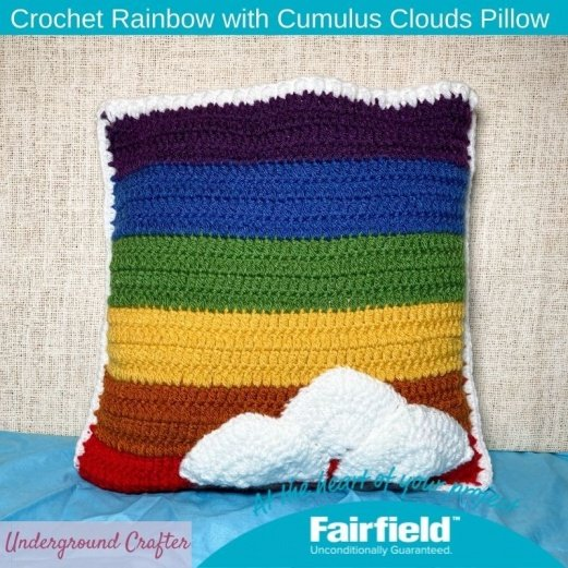 Crochet Retro Rainbow with Cumulus Clouds Pillow